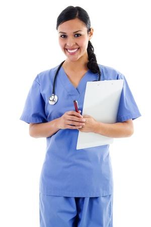 Weibliche Beschäftigten im Gesundheitswesen isoliert auf weißem Hintergrund