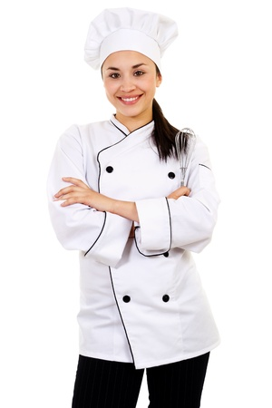 Food service industry worker isolated on white background