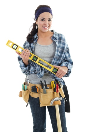 building worker: Stock image of handywoman isolated on white background
