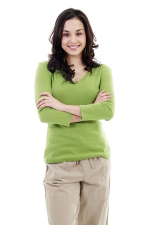 Stock Bild zuversichtlich lässig Frau isoliert auf weißem Hintergrund Standard-Bild - 12109146