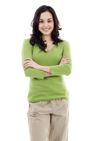 Stock Bild zuversichtlich lässig Frau isoliert auf weißem Hintergrund Lizenzfreie Bilder