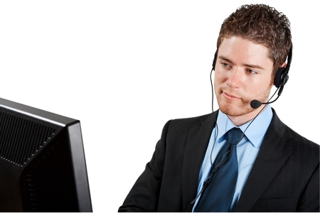 Stock image of male call center operator isolated on white background photo