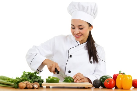 Stock image of female chef preparing food isolated on white background