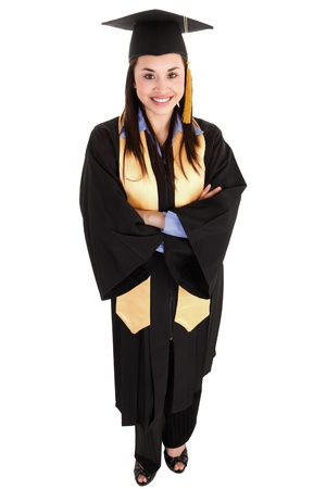 Stock image of female graduate isolated on white background, high angle shot photo