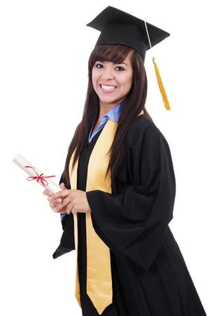 toga y birrete: Imagen de archivo de graduarse de la aisladas sobre fondo blanco