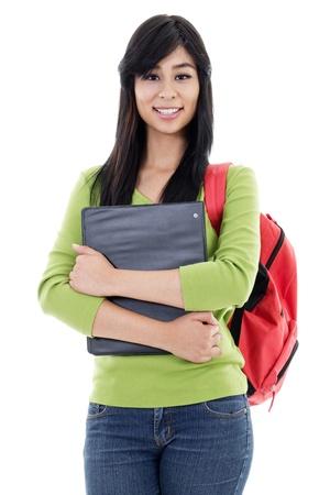 eskimo woman: Stock image of female student isolated on white background Stock Photo