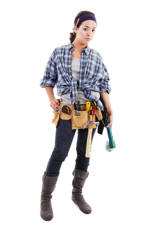Stock image of handywoman isolated on white background, full shot
