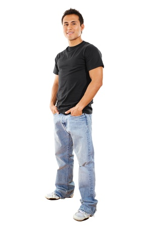 full frame: Stock image of casual man isolated on white background, full shot