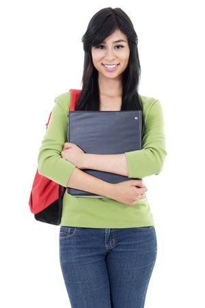 Stock image of female student isolated on white background Zdjęcie Seryjne