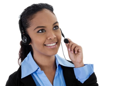 Stock image of female call center operator with copy space photo
