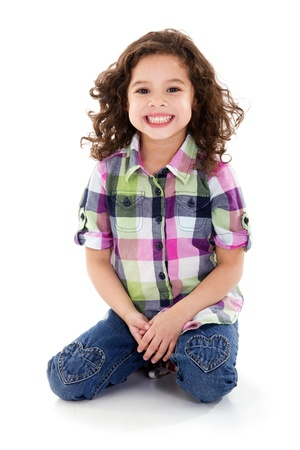 Stock image of happy girl, isolated on white background Zdjęcie Seryjne