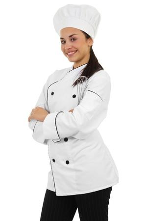 šéfkuchař: Obrázkem žena kuchař izolovaných na bílém pozadí Reklamní fotografie
