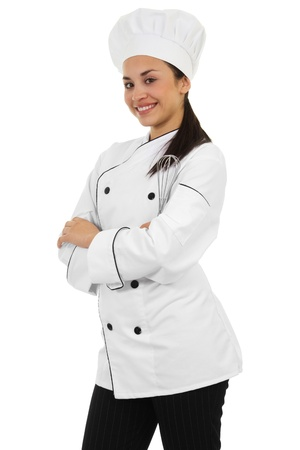 chefs: Stock image of female chef isolated on white background Stock Photo