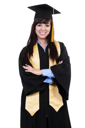 Stock Bild der glücklichen weibliche Absolventin isoliert auf weißem Hintergrund