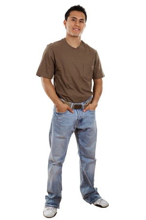Stock image of casual man isolated on white background, full frame