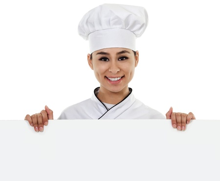 skilled labour: Stock image of female chef holding blank sign with copy space