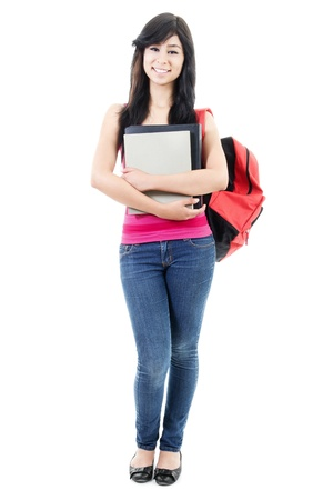 out of body: Stock image of female student isolated on white background, full body shot