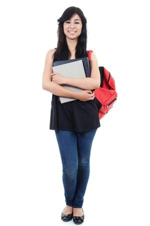 Stock image of female student isolated on white background, full frame