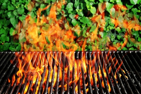 Stock image of charcoal fire grill over ivy background with live flames