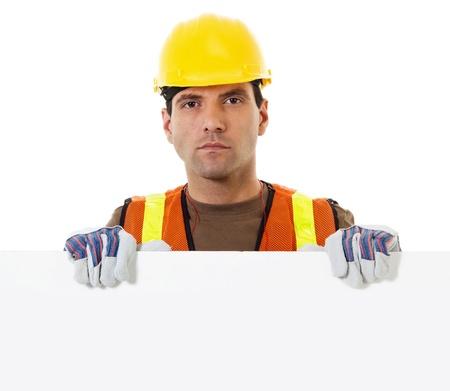 reflect: 복사본 공간 빈 기호를 들고 건설 노동자의 재고 이미지 스톡 사진