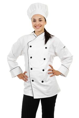 Stock image of female chef isolated on white background Stock Photo