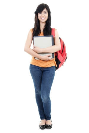 full frames: Stock image of female student isolated on white background Stock Photo