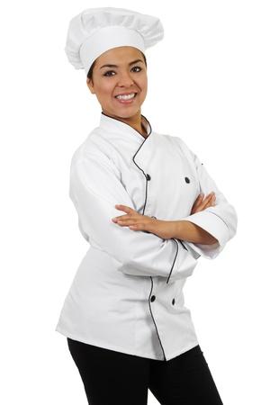 Stock Bild der weiblichen Chef isoliert auf weißem Hintergrund Lizenzfreie Bilder