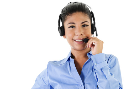 Stock image of female call center operator over white background photo
