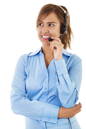 Stock image of female call center operator photo