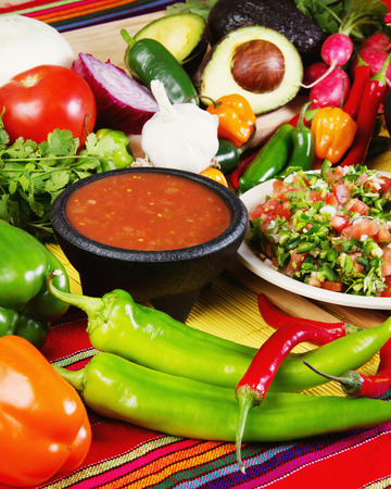 Stock image of traditional mexican food salsas and ingredients Standard-Bild