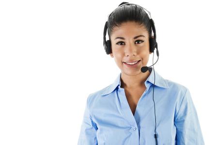 Stock image of female call center operator isolated on white photo