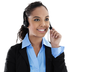 teleconferencing: Stock image of female call center operator isolated on white