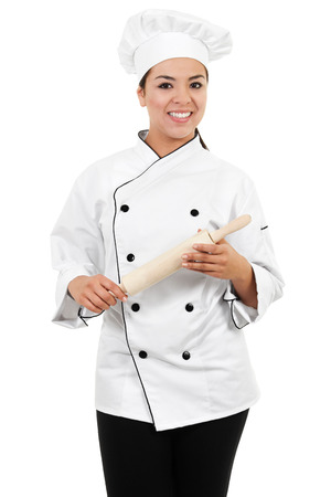 Stock image of female chef or baker isolated on white background Zdjęcie Seryjne