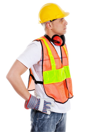 Stock image of construction worker isolated on white Zdjęcie Seryjne