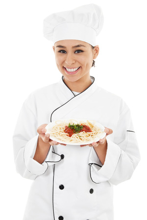 Stock image of female chef isolated on white background Zdjęcie Seryjne