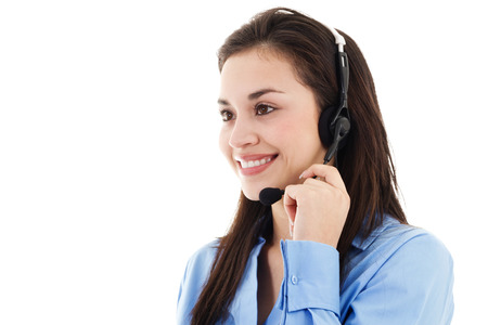 Stock image of female call center operator isolated on white background