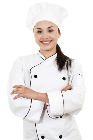 Stock image of female Chef or Baker isolated on white background