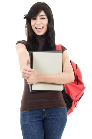 Stock image of female university student isolated on white background photo