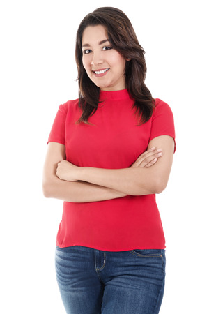 Stock image of smiling and confident hispanic woman, casually standing with arms crossed, isolated on white background Banque d'images