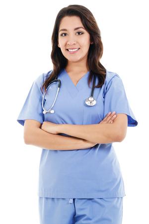 Bild eines weiblichen Beschäftigten im Gesundheitswesen auf weißem Hintergrund