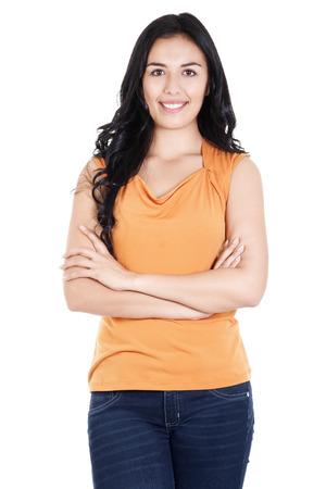ストック イメージの笑顔と自信を持って白い背景に分離されたカジュアルな女性