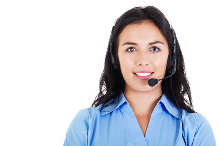 Stock image of female call center operator smiling, wearing business attire, isolated on white photo