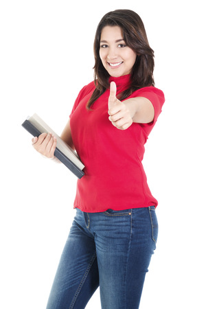 casual attire: Stock image of happy female student carrying books with casual attire,  isolated on white background