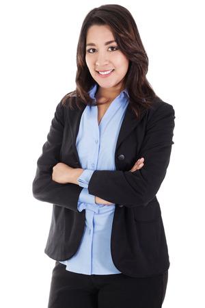 白い背景に分離されたビジネスの女性の笑顔のストック イメージ 写真素材