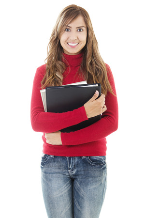 Stock image of casual female student isolated on white background