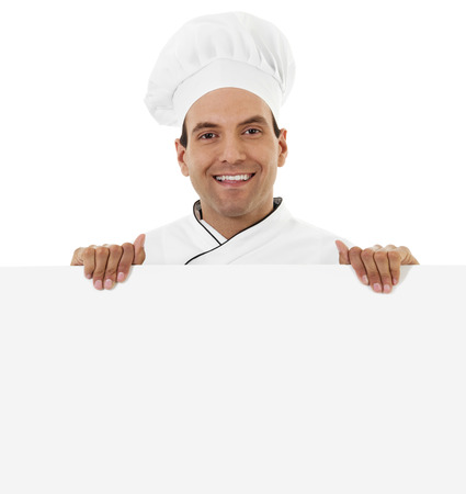Stock image of a cheerful male chef holding a blank sign isolated on white Zdjęcie Seryjne - 48862597