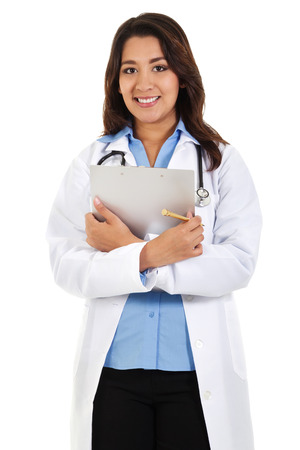 Stock image of a female health care worker isolated on white background Zdjęcie Seryjne