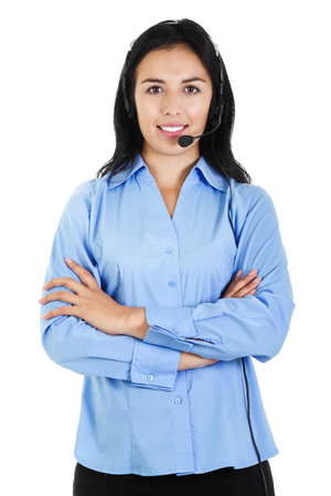 teleconferencing: Stock image of a female call center operator isolated on white background