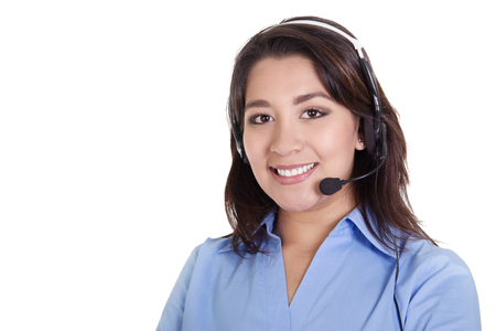 teleconferencing: Stock image of a female call center operator isolated on white background with copy space