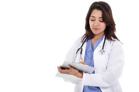 ヘルスケア: コピー スペースと白い背景で隔離の女性保健医療労働者のストック イメージ